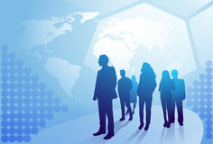 Group Of Business People Silhouette Walking Over World Map Background Businesspeople Team Concept Royalty Free Stock Image