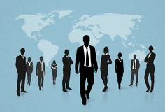 Group of Business People Silhouettes Walking Stock Image