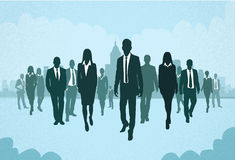Group of Business People Silhouettes Walking. Forward Concept Businesspeople Vector Illustration Stock Photos