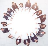 Group of business people sitting at the round table. the busines Royalty Free Stock Photography