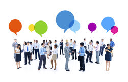 Group of Business People and Speech Bubbles Stock Photography