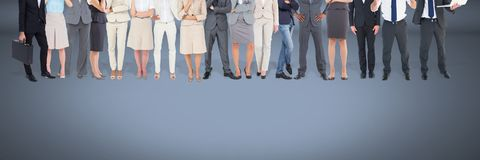 Group of Business People standing with blue vignette background Royalty Free Stock Photo