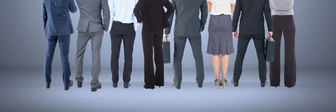 Group of Business People standing with blue vignette background Stock Images