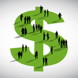 Group of Business People Standing On Dollar Sign Stock Images