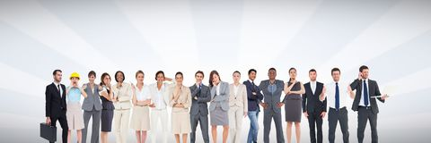 Group of business people standing in front of bright grey background royalty free illustration