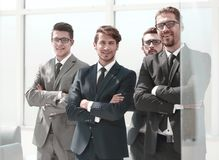 Group of business people standing in the office. Photo with copy space royalty free stock images