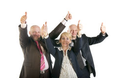 Group of business people standing with thumbs up sign Stock Photo