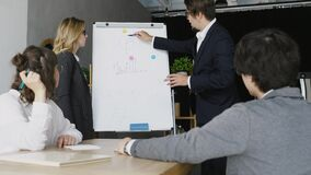 Businesspeople with whiteboard discussing strategy in a meeting stock footage
