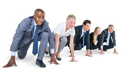 Group of Business People at Starting Point Stock Photography