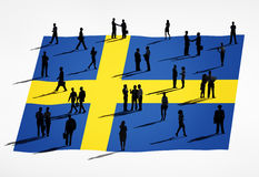 Group of Business People and Swedish Flag Stock Photo
