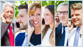 Group of business people talking on the phone. A Group of business people talking on the phone Stock Photo