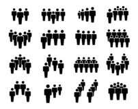 Group of business people in teamwork icon set. Black silhouettes. Vector flat style cartoon illustration isolated on white background vector illustration