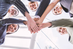 Group of business people with their hands holding together, banner of business teamwork. Stock Photos