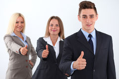 Group of business people, thumbs up Stock Photos
