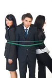 Group of business people tied up Royalty Free Stock Photos