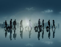 Group of Business People in Town Travel Walking Concept Royalty Free Stock Images