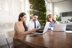 Group of business people using laptop while working in the office stock photography