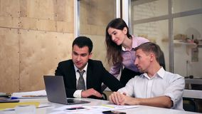 Group of business people on video conference stock video footage