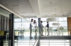Group of business people walking and taking at stairs in an office royalty free stock image