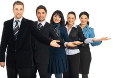 Group of business people welcoming Royalty Free Stock Photos