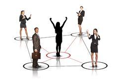 Group of business people with woman silhouette Stock Images