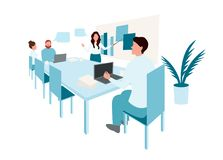 Group of business people working vector illustration