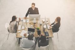 Group of business people working in office royalty free stock images