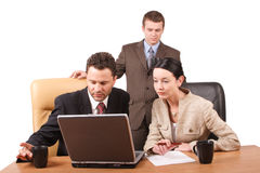 Group of  business people working together  with laptop in the office - horizontal,  isolated