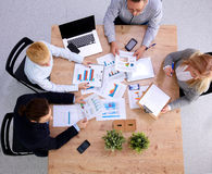 Group of business people working together on white Royalty Free Stock Photo