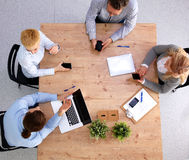 Group of business people working together on white Royalty Free Stock Images