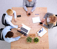 Group of business people working together on white Royalty Free Stock Photos