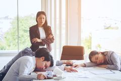 Group business sleep after meetings work tried on the creation a. Nd talked about plans for a new project in the office royalty free stock images