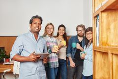 Group of students takes a break Royalty Free Stock Photos