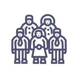 Group or business team perfect icon- vector 64X64 perfect pixel icon with man and woman- vector stock illustration