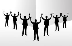 Group of business team raising hands. Stock Photo