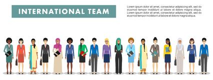 Group of business women standing together on white background in flat style. Business team and teamwork concept Stock Images