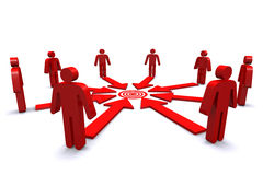 Group of business workers with red target spot. Royalty Free Stock Photography