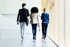 Group of business young people walking and talking in a hallway of the company. Stock Image