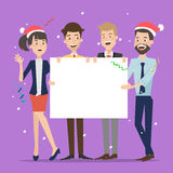 Group of businessman holding board for christmas. Stock Photos