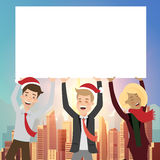 Group of businessman holding board for christmas. Royalty Free Stock Photography