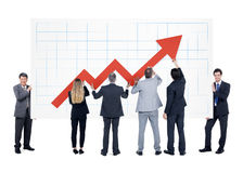 Group of businessman with infographic Stock Images