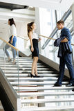 Group of businessman walking and taking stairs stock images