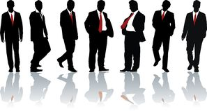 Group of businessmen. Group of seven powerful businessmen. Vector silhouette Royalty Free Stock Photo
