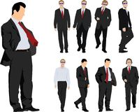 Group of businessmen. Group of nine powerful businessmen. Colour vector silhouette Stock Image
