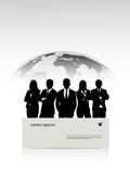 Group of businessmen against a planet with a banne Stock Photography