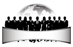 Group of businessmen against a planet with a banne Royalty Free Stock Photography
