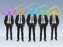 Group of businessmen with application icons instead of their hea Royalty Free Stock Photography