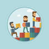 Group of businessmen building ladder to success. Royalty Free Stock Image