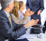 Group of businessmen the conclusion Stock Photo