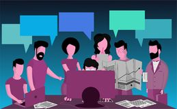 A group of businessmen discusses the project, stock illustration